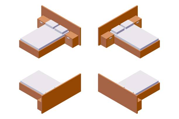 ilustrações de stock, clip art, desenhos animados e ícones de double bed with bedside tables in isometric style in various foreshortening. isolated on white wooden collection good for interior and hotel room design and decoration. - top view, wood table, empty
