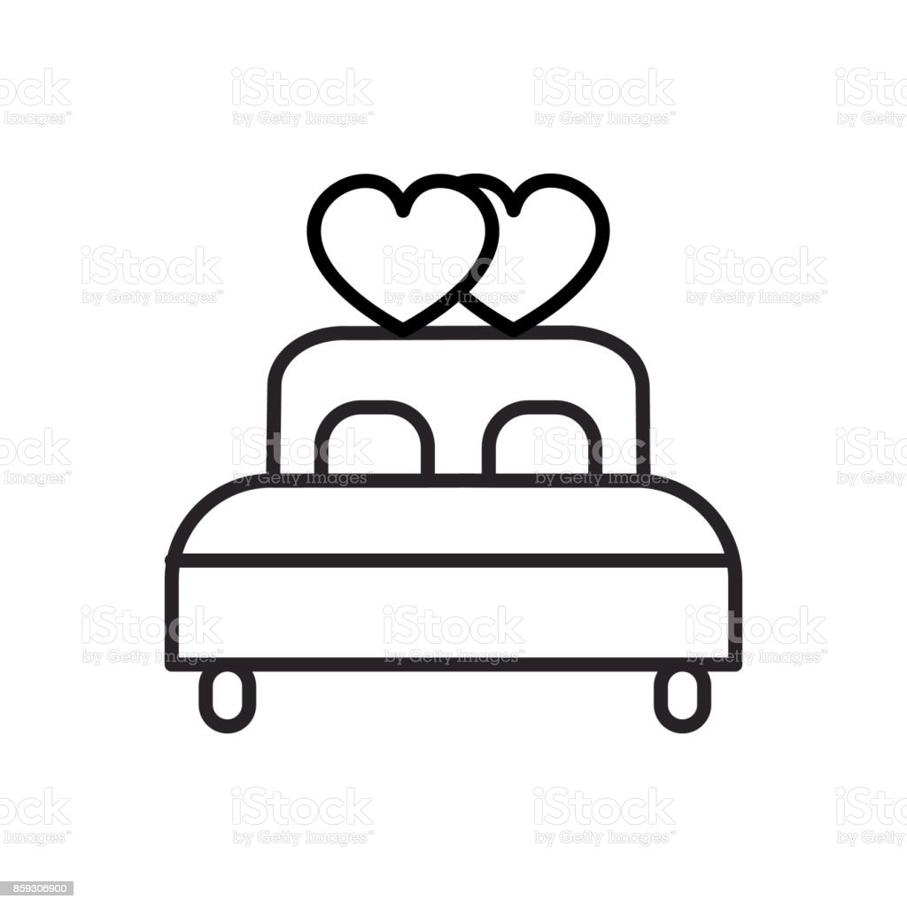 double  bed with heart vector line icon, sign, illustration on background, editable strokes vector art illustration