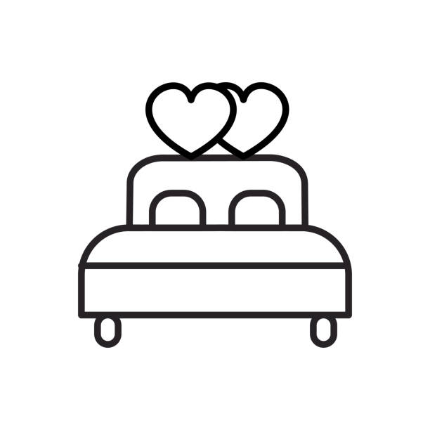 doppelbett mit herz-vektor-linie-symbol, zeichen, illustration auf hintergrund, editierbare striche - herzkissen stock-grafiken, -clipart, -cartoons und -symbole