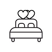 double  bed with heart vector line icon, sign, illustration on background, editable strokes