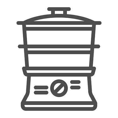 Double boiler line icon, Kitchen appliances concept, steamer sign on white background, Double boiler icon in outline style for mobile concept and web design. Vector graphics.
