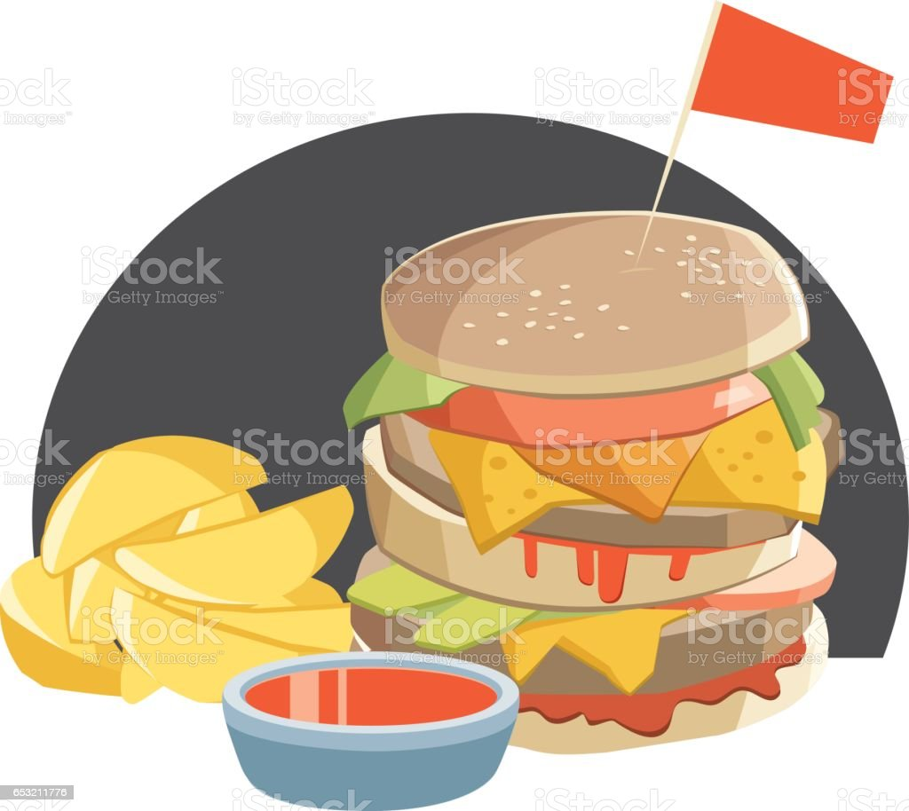 Double burger and french fries vector art illustration