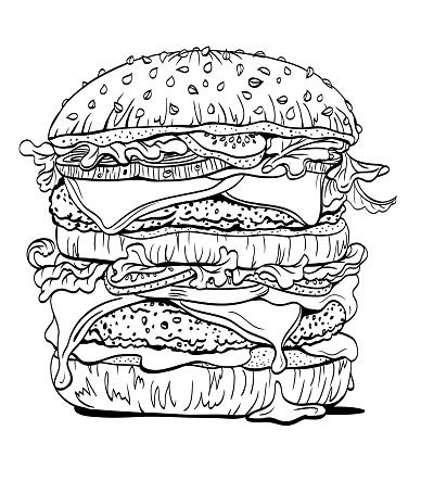 Double burger, contour linear drawing