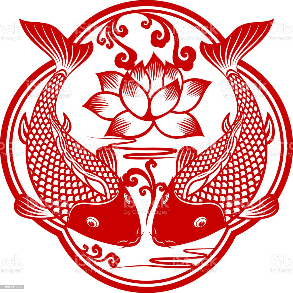 Double Carp Chinese Paper-cut Art vector art illustration