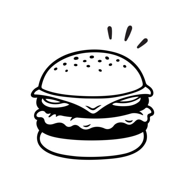 Double cheeseburger drawing Double cheeseburger drawing, two patties burger illustration in vintage sketch style. Isolated black and white vector clip art. bread clipart stock illustrations