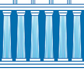 Double classic pillars arc isolated on blue background