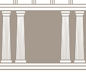 Double classic pillars arc isolated on brown background
