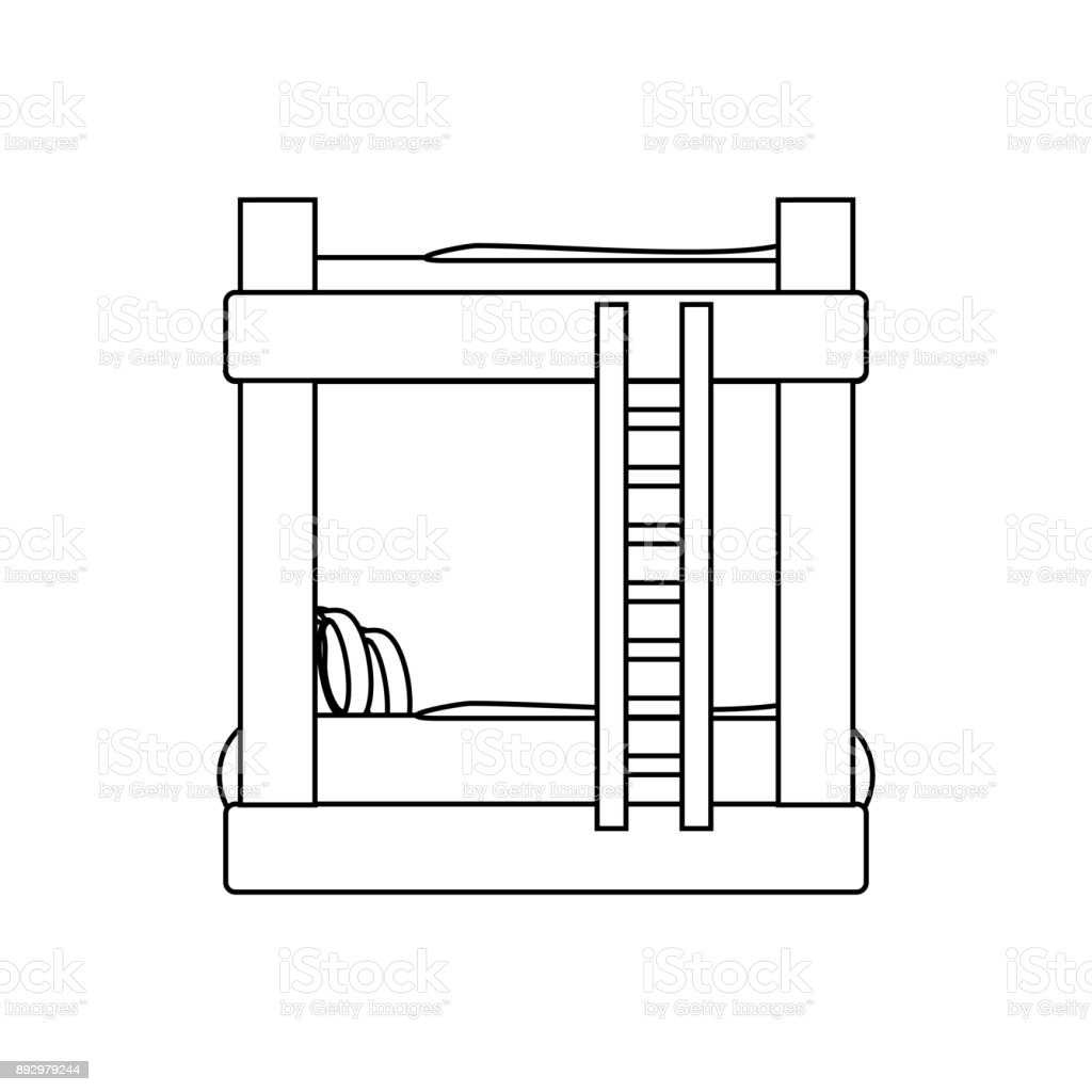 Double Deck Bed icon vector art illustration