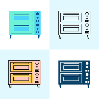 Double deck pizza oven icon set in flat and line styles