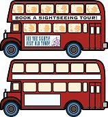 Two views of a double decker bus, one with type and occupants and the other unoccupied. Zipped file contains AI8 versions of each along with hi-res jpegs.