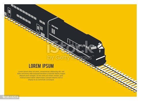 simple isometric illustration of double decker passenger train