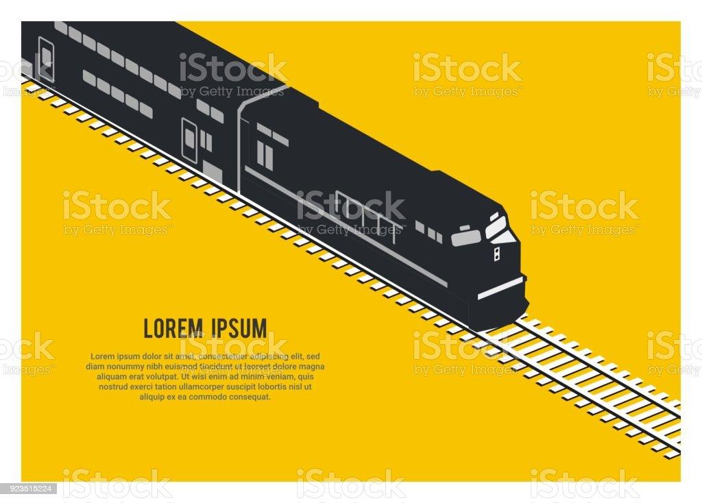 Doppeldecker Personenzug Silhouette einfache isometrische Darstellung – Vektorgrafik