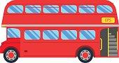 Double decker red bus vector illustration, flat design. City public transport service vehicle retro bus, Double decker On White Background