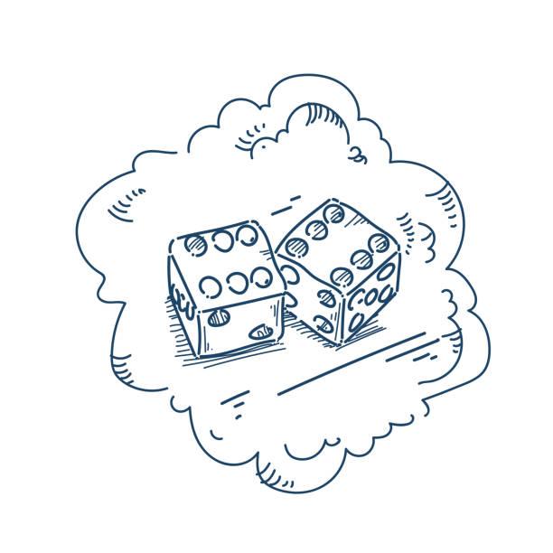 illustrations, cliparts, dessins animés et icônes de double dé bonne chance concept sur illustration vectorielle de fond blanc esquisse doodle - nuage 6