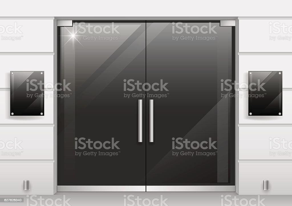 Double doors of black glass