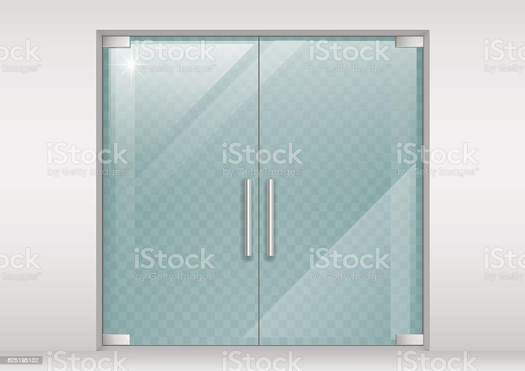 Double doors of glass vector art illustration