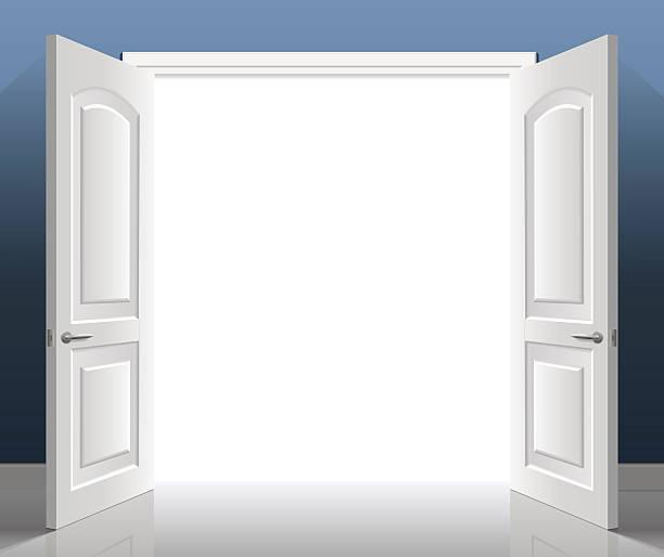ilustrações, clipart, desenhos animados e ícones de double doors open - molduras decorativas