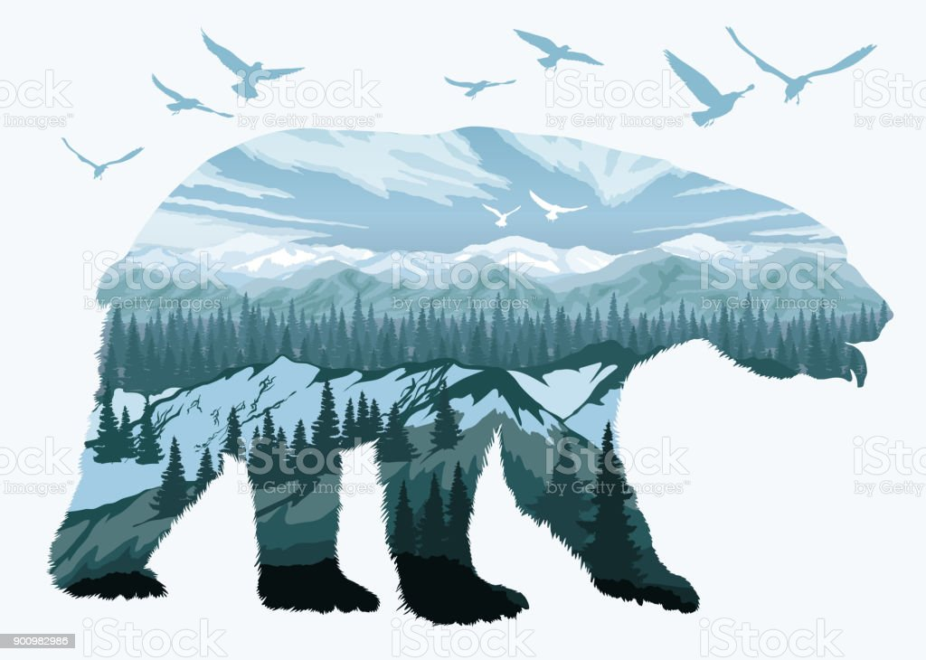 Double exposure, bear and animal wildlife - Royalty-free Abstract stock vector