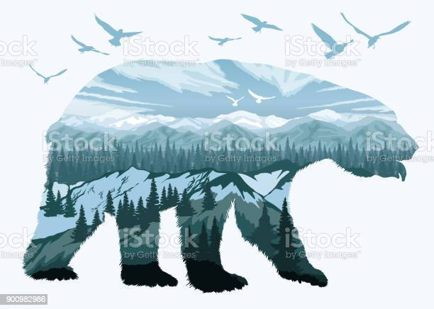 Double Exposure Bear And Animal Wildlife Stock Illustration - Download Image Now