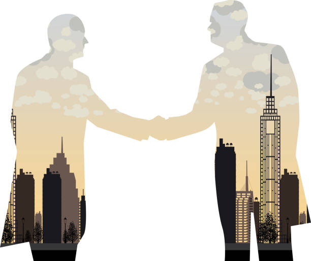 stockillustraties, clipart, cartoons en iconen met double exposure handshake businessman on city background - dubbelopname businessman