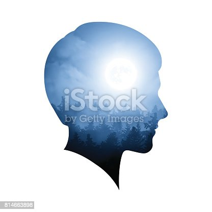 Illustration of a double exposure with a silhouette of a man's head.