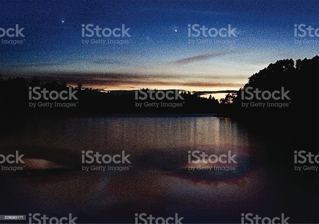 Double Exposure, Lake and Woman at Sunset vector art illustration