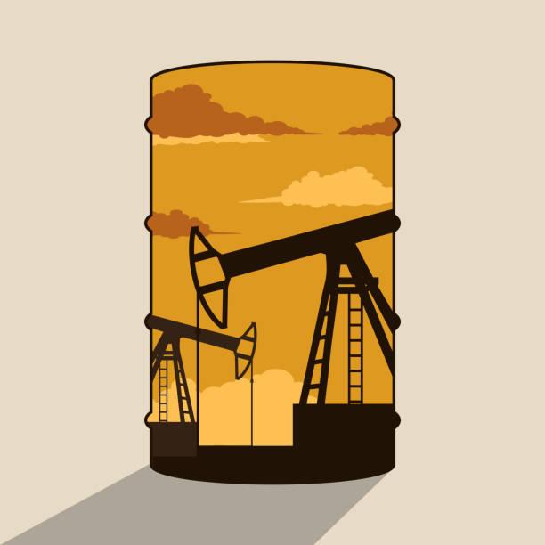 ilustrações, clipart, desenhos animados e ícones de dupla exposição de barril de petróleo e bombas de petróleo - double exposure