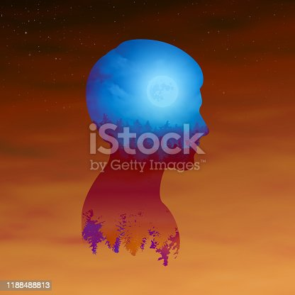 Double exposure portrait of a man with a forest landscape and the moon in the clouds. Illustration of a double exposure with a silhouette of a man's head.
