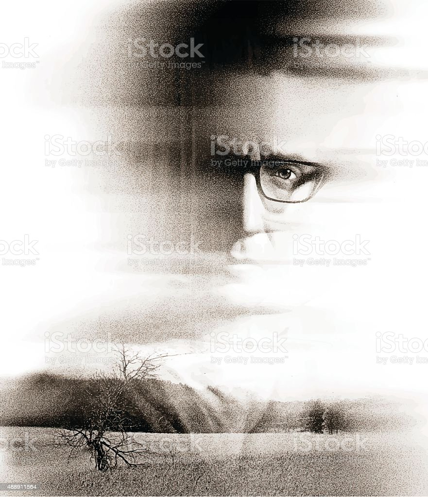 Double Exposure Portrait Of A Serious Man and Nature vector art illustration
