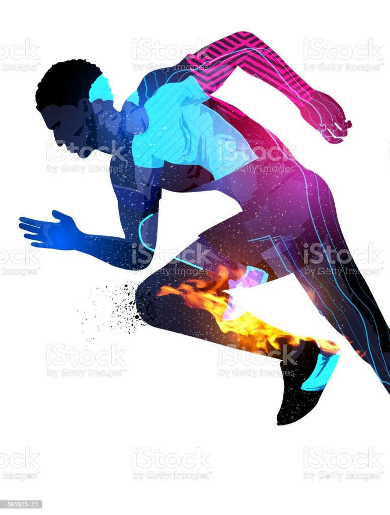 Double Exposure Running Man vector art illustration