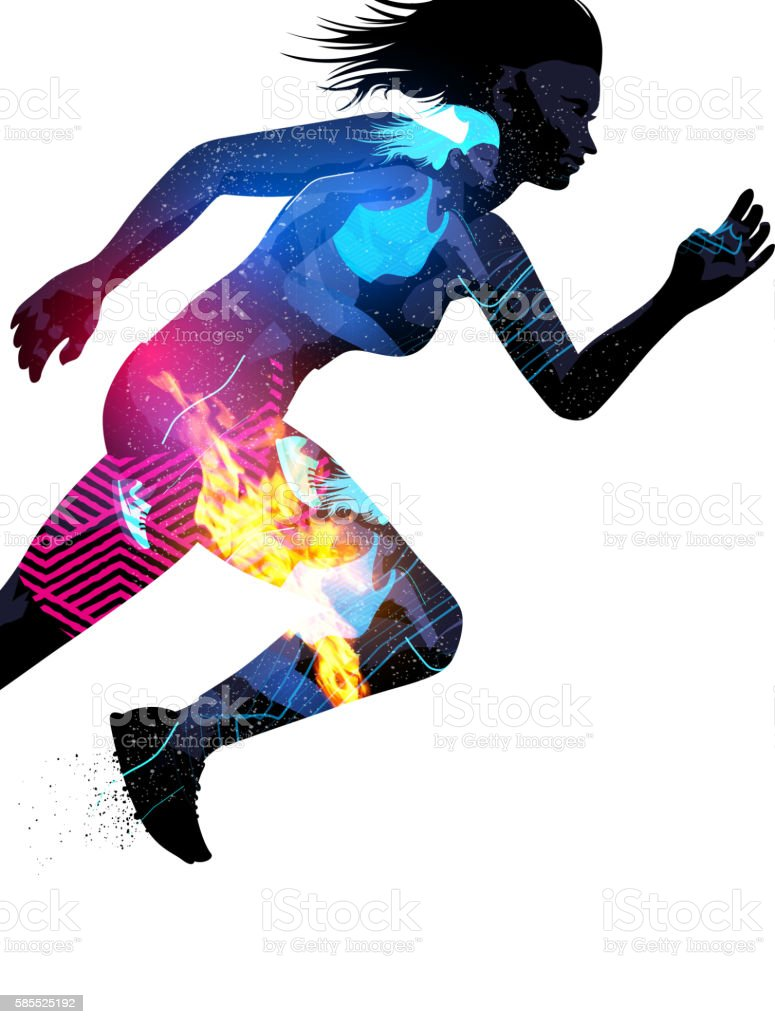 Double Exposure Running Woman vector art illustration
