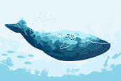 Vector Double exposure, whale and sea underwater world with animals