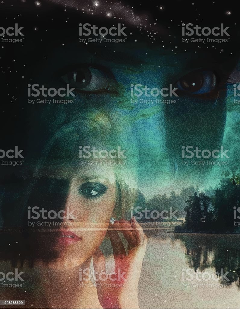 Double Exposure, Woman and Lake vector art illustration