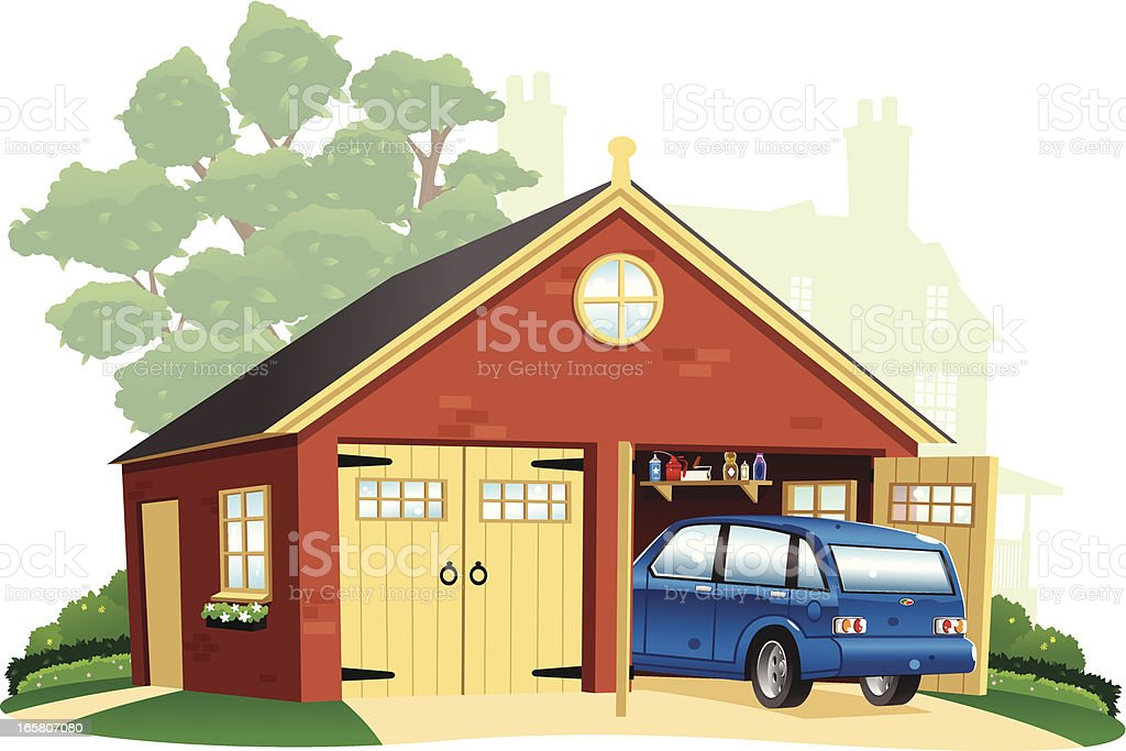 Double garage and automobile vector art illustration