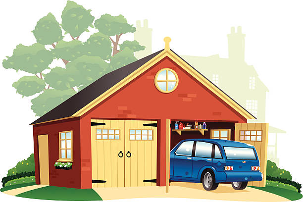 Royalty free driveway clip art vector images for Image garage automobile