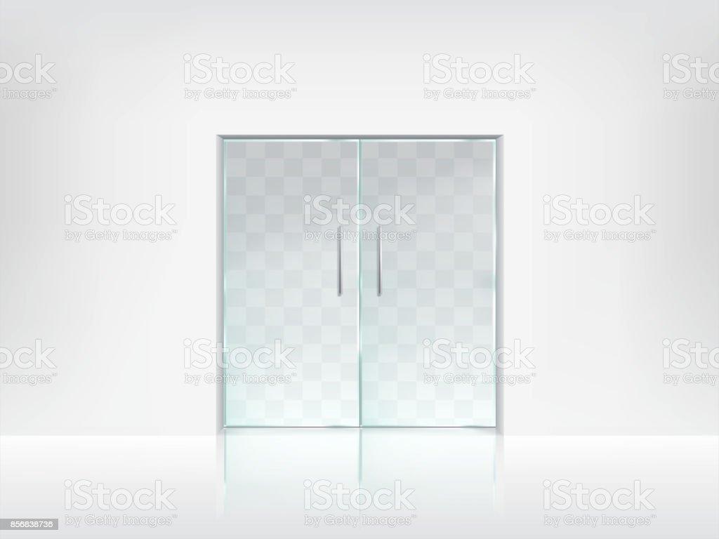Double glass door transparent vector template