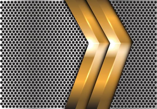 doppelpfeil gold auf silber kreis mesh design moderner luxus futuristische kreative hintergrund vektor-illustration. - edelrost stock-grafiken, -clipart, -cartoons und -symbole
