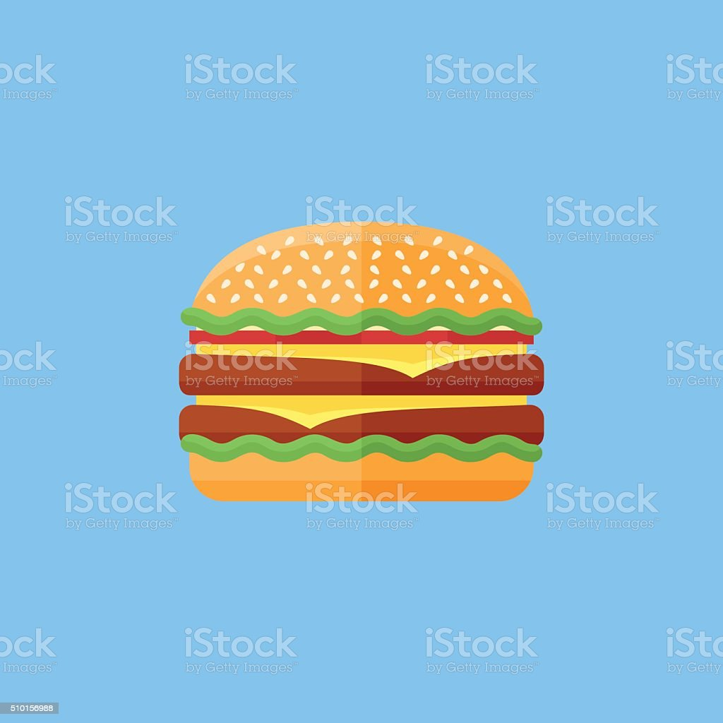 Double hamburger flat icon. Fast food. vector art illustration