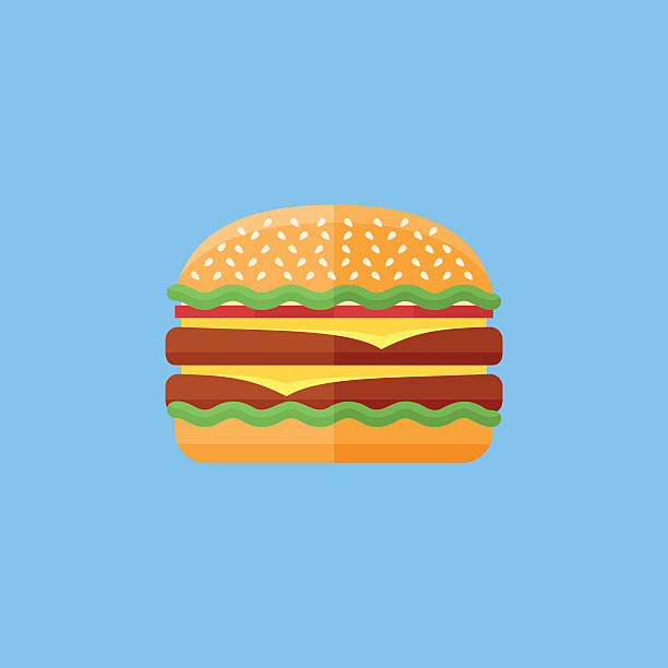 Double hamburger flat icon. Fast food. Double hamburger flat icon on blue background. Burger with salad, tomatoes, cheese and cutlet. Fast food. Vector illustration. cheeseburger stock illustrations