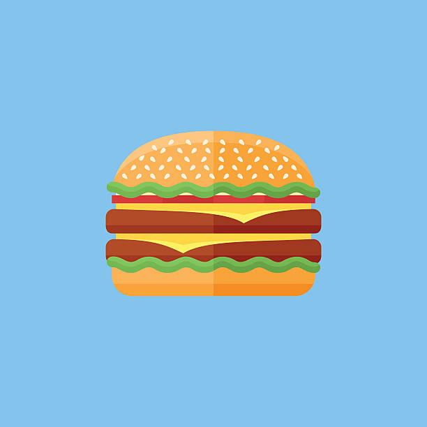 double hamburger flat icon. fast food. - burgers stock illustrations, clip art, cartoons, & icons