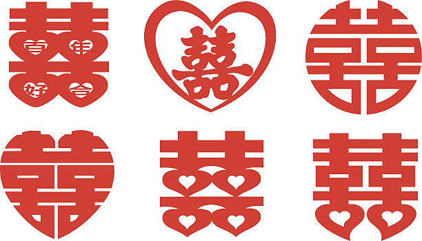 "Double Happiness Collection This is the Chinese symbol known as ""Double Happiness"",it's used to wish happiness to a married couple.(This editable vector file contains eps10,ai10, pdf and 300dpi jpeg formats.) himbeeren stock illustrations"
