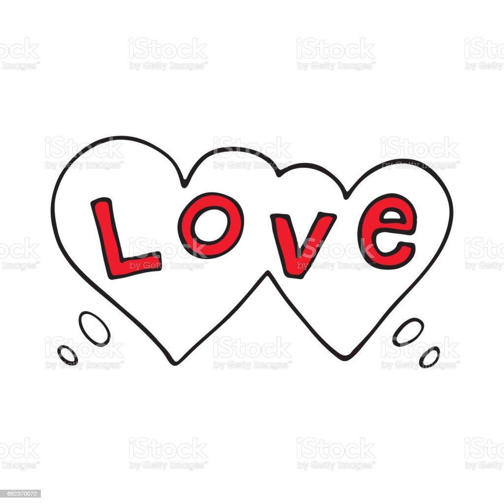 Dubbele hart tekstballon met liefde woord royalty free dubbele hart tekstballon met liefde woord stockvectorkunst en meer beelden van bel - vloeistof