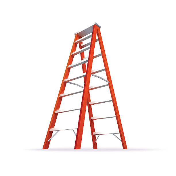 stockillustraties, clipart, cartoons en iconen met double ladder illustration - ladder