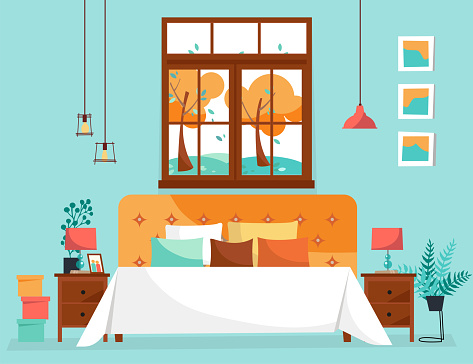 Double large bed with soft back and many pillows under large window with tree landscape. Bedroom interior with bedside tables, potted plants and hanging lamps. Flat cartoon style vector illustration.