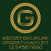 Double line gold letters and numbers with G initial monogram.