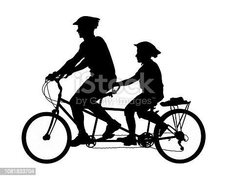 Father cycling on a tandem with his child