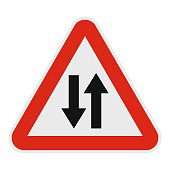 Double sided traffic icon, flat style.