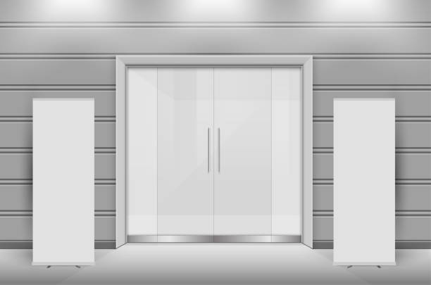 Double sliding glass doors with automatic motion sensor. vector design. Double sliding glass doors with automatic motion sensor. vector design. vehicle door stock illustrations