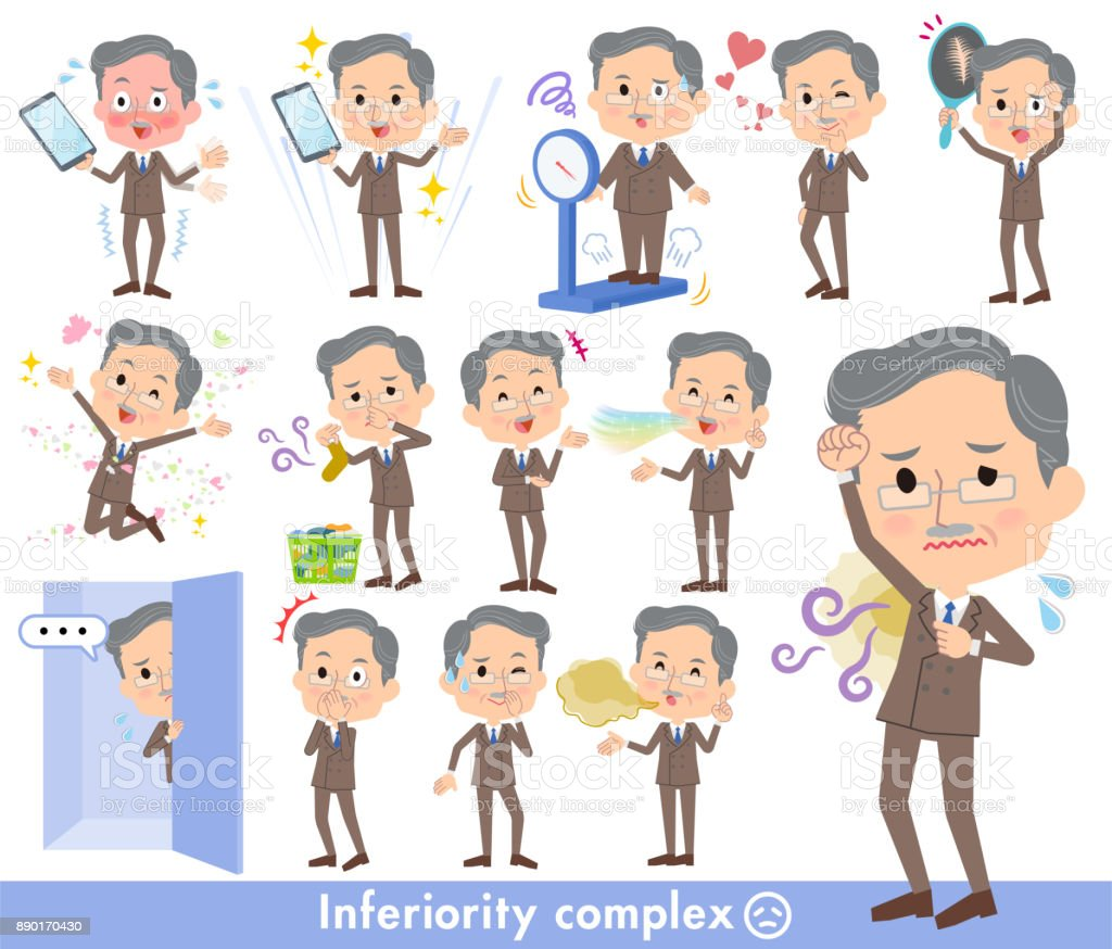 Double suit beard old men_complex vector art illustration