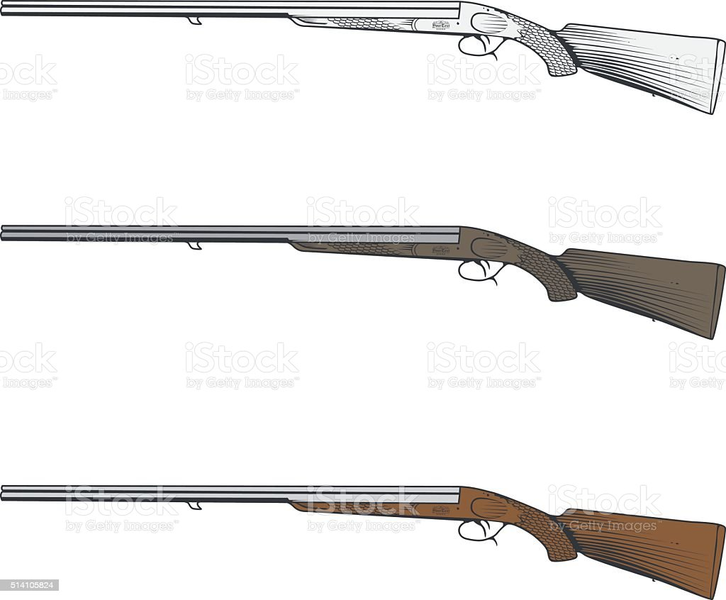 Double-barreled shotgun, hunting rifle vector art illustration